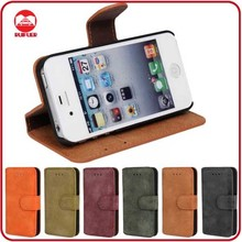 RF Manufacturer Supplier Luxury Pouch Pocket Premium Matt Leather Wallet Stand Front And Back Case for Iphone 4 4S Accessories