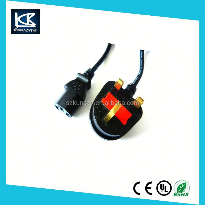 Kuncan Electronics home appliances UK Plug to IEC 320 C13 Kettle Lead 1m Power Cord Cable PC Mains