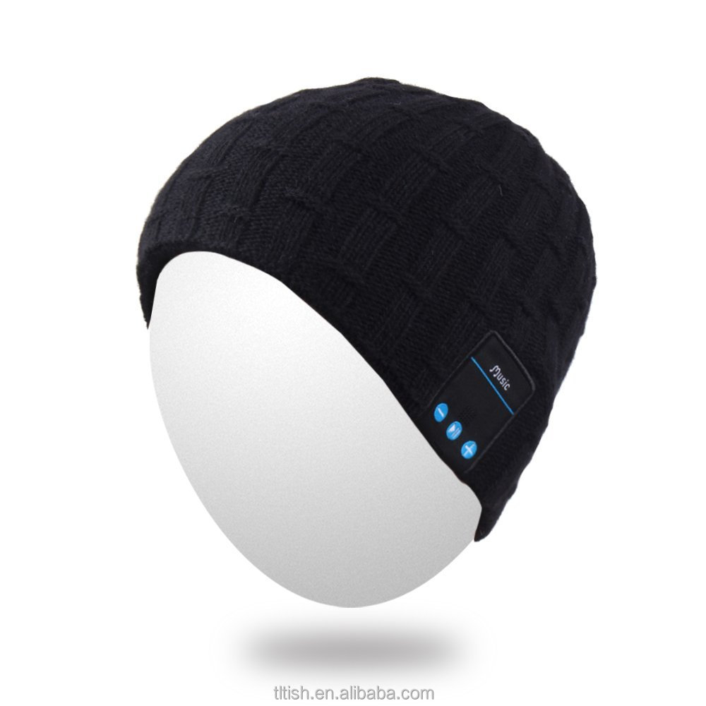 2016 Bluetooth Beanie Warm Soft Winter Knitted Trendy Short Skully Hat Cap with Wireless Headphone Headset