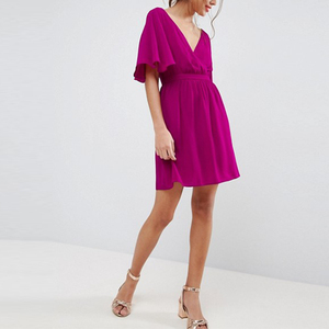 2018 hot 100% Polyester cross over sexy short mini dress