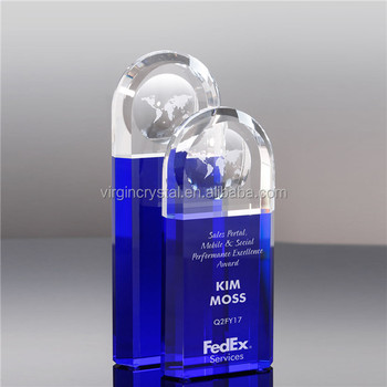 High quality crystal and blue globe trophy plaque with company brand name