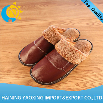 Hot genuine leather cow girl's winter indoor slippers custom supplier