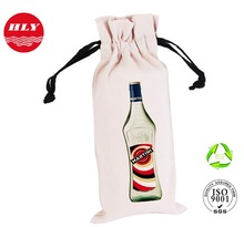 Wholesale Customized Wine Drawstring Canvas Bottle Bag For Promotion