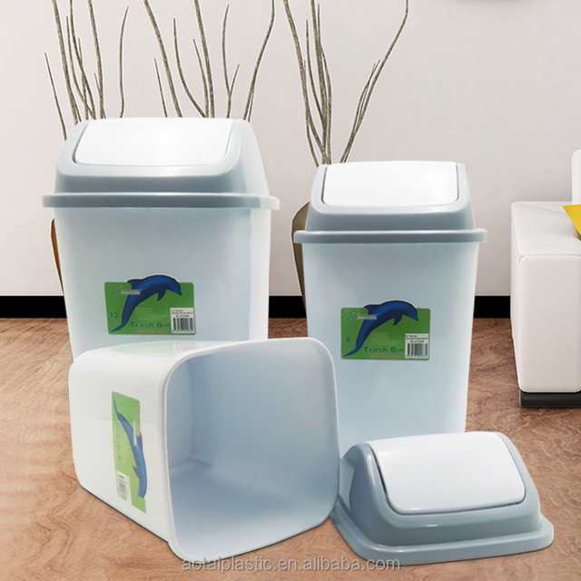 Hot sale cheap price household plastic trash bin plastic rubbish bin with swing lid