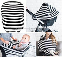 Custom LOGO chevron Multi-use nursing scarf stretchy infant baby car seat carrier canopy cover