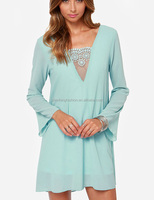 CHEFON Flared long sleeve sheer crochet lace inset plunging v neck light blue dress
