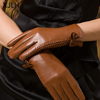 Thin faux silk lining threading design side split mini bow women leather gloves