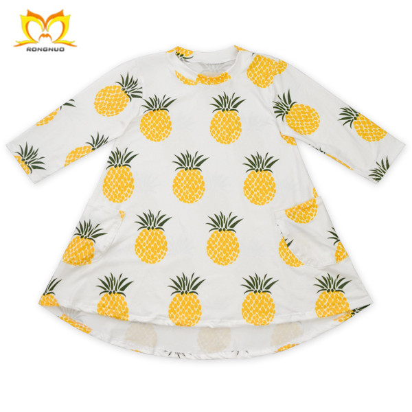 Sweet Style Gilr Frock Kids Printed Boutique Clothing Baby Custom Cute Two Pockets Wholesale Cheap Children Fashion Dress.