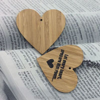 Laser printed bamboo heart ornament for Wedding decor