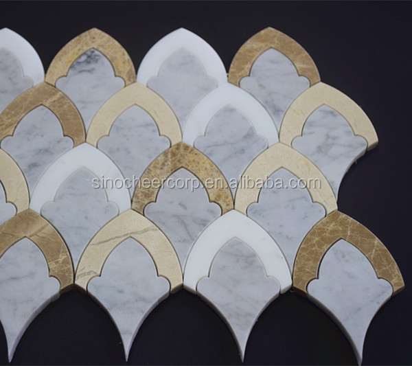 Marble and Onyx Mix Shape Diamond Waterjet Tile Mosaic