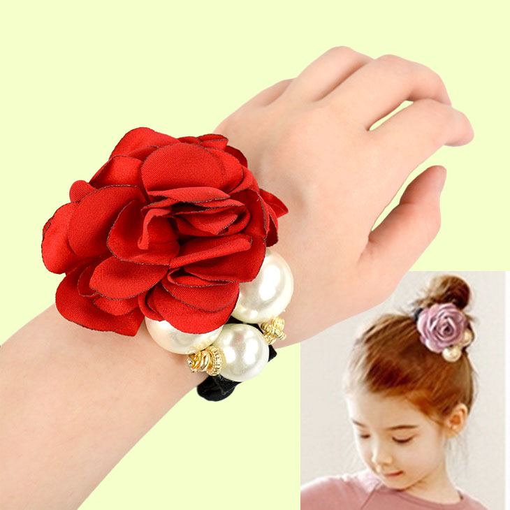 Girls Satin Pearls Flower Decor Elastic Hair Ring Ponytail Headband Hair Bands