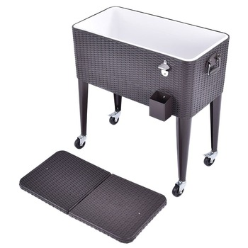 Outdoor rattan 80qt party portable rolling cooler cart ice for Outdoor mobel rattan