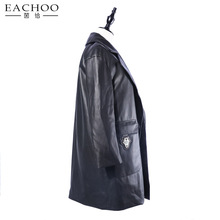 Women Outerwear Leather Panel Long Stand Collar Coat