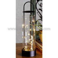 home decoration glass and metal lantern with 16 LED lamps
