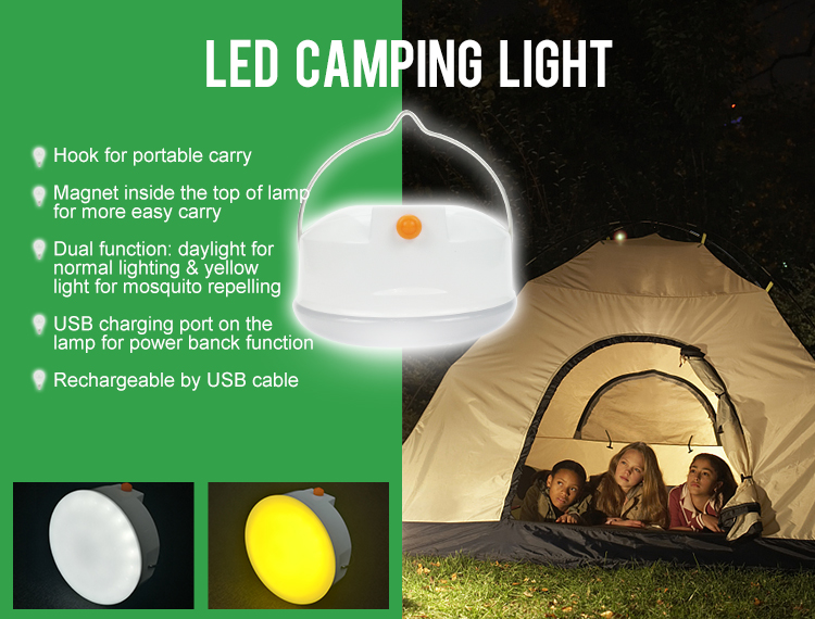 Round 5W USB rechargeable led camping light