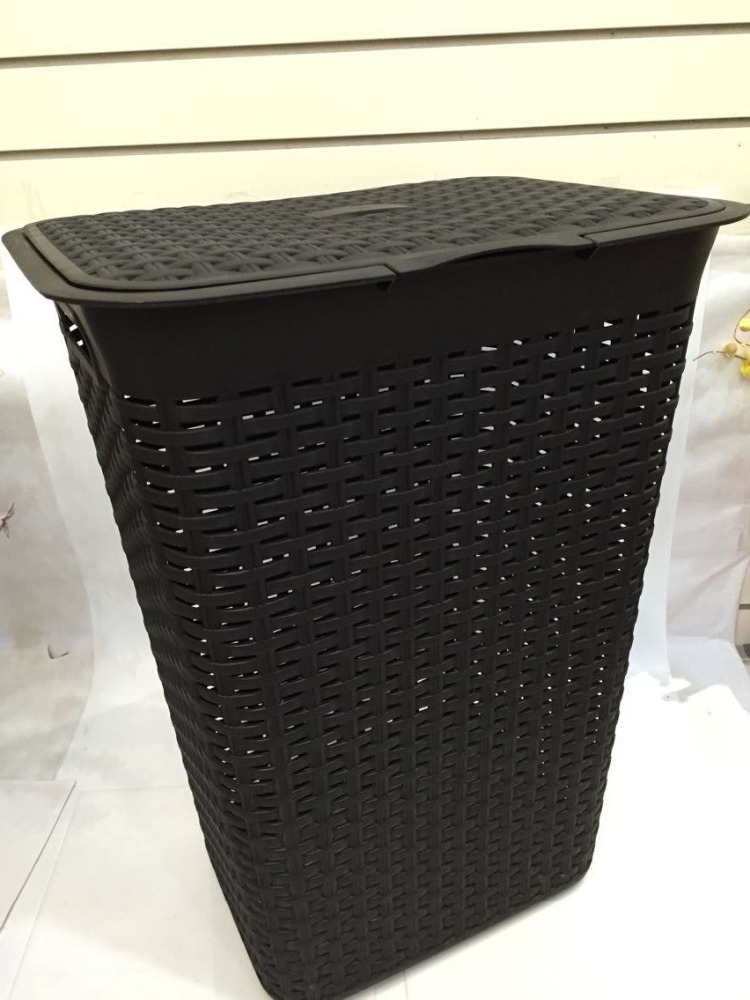 Rattan look laundry tub plastic laundry basket with lid view plastic launtry basket cj product - Rattan laundry basket with lid ...