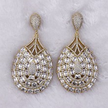 Hot china products wholesale indian jewelry synthetic diamond white stone earring