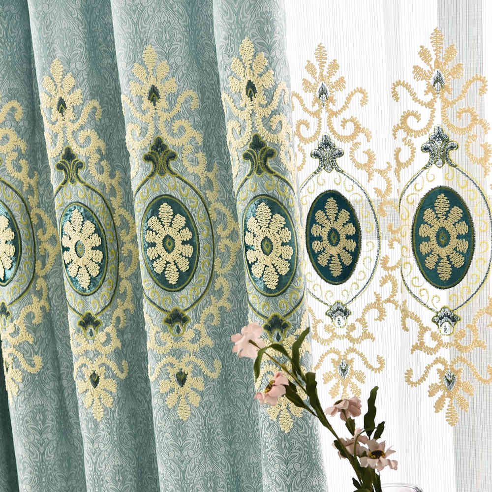 Mid east 100 polyester designs embroidery curtain