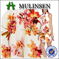 Mulinsen Textile 2016 Design Printed Woven 97% Cotton 3% Spandex Floral Poplin Fabric for Women Dress