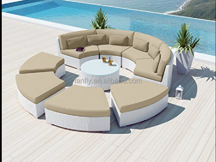 Round Shaped Rattan Outdoor sectional sofa set