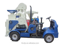 moving processing diesel tractor combined rice mill