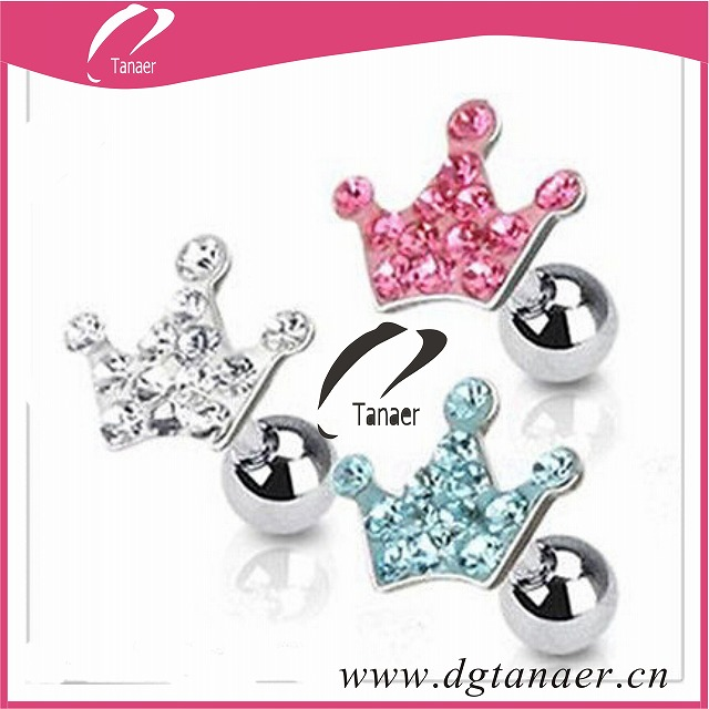 CZ Paved Crown Tiara Ear Cartilage Tragus Earring Stud