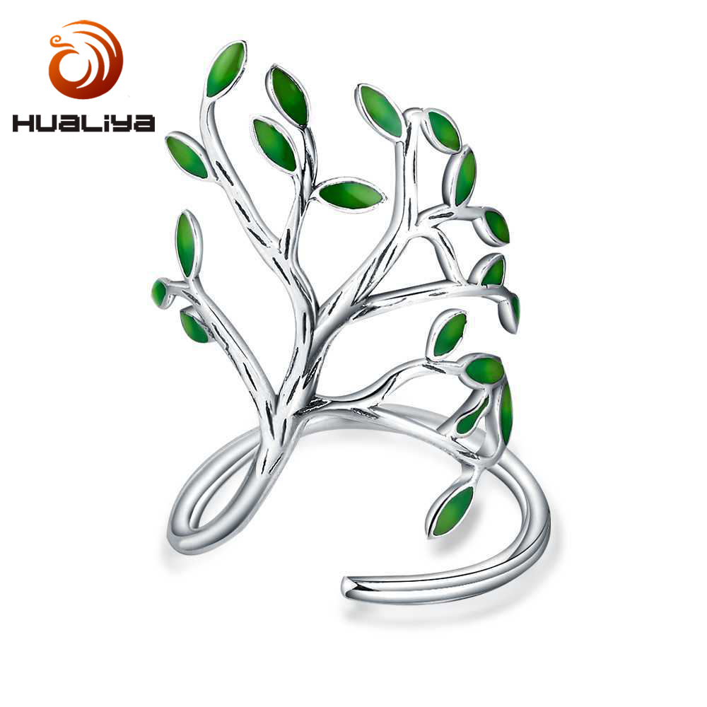 925 Sterling Silver Drop Glaze Leaves Open Rings For Women Handmade Prevent Allergy Sterling-silver-jewelry Ring