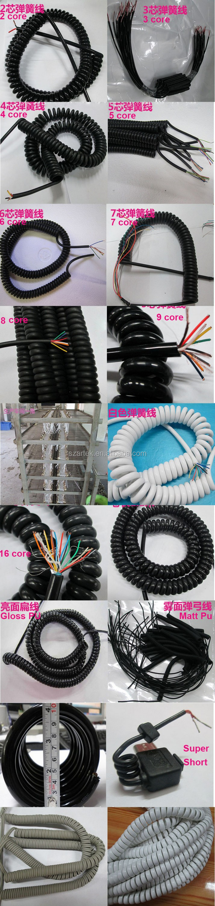 7 core 0.5mm2 stranded pure copper cable outer diamter 30mm spiral cable
