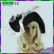 Pirate Hat Ladies White/Red Feather And Trim Halloween Fancy Dress