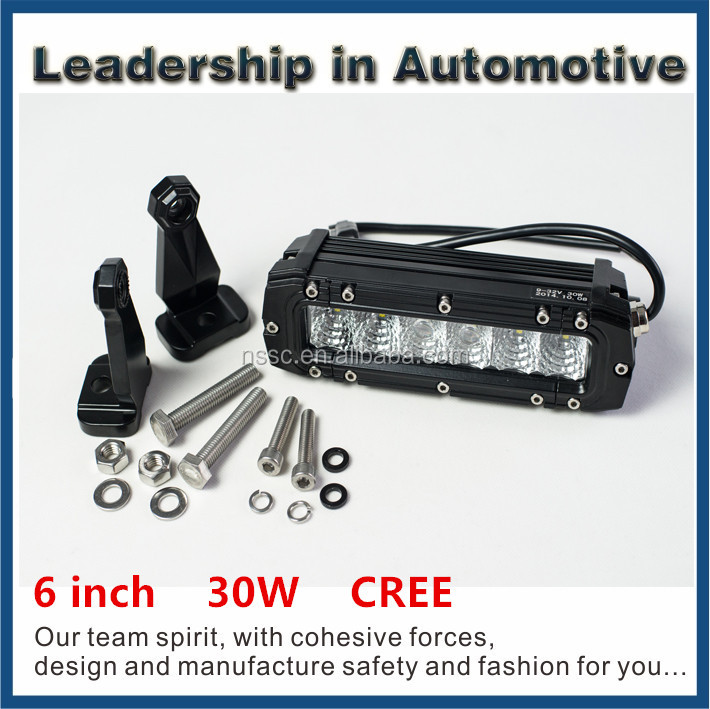 Super bright 30W CREE led light bar,6 INCH 12V led light bar WATERPROOF IP67 Spot / Flood Work Driving ATV