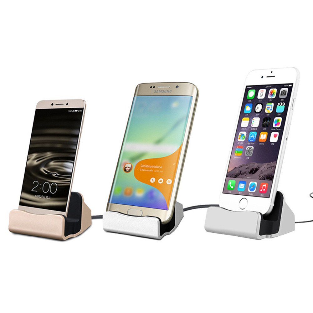 3 in 1 USB Mobile Phone Charge Sync Dock Cable Desktop ev Charging type c Docking Station for iPhone Samsung