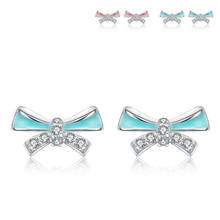 Latest model fashion S925 sterling silver bowknot earrings,ladies earrings designs pictures