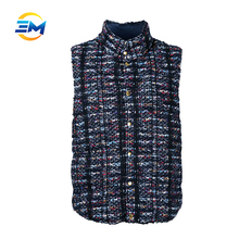 Original design custom button up multicolor no sleeves tweed jacket vest with stand collar