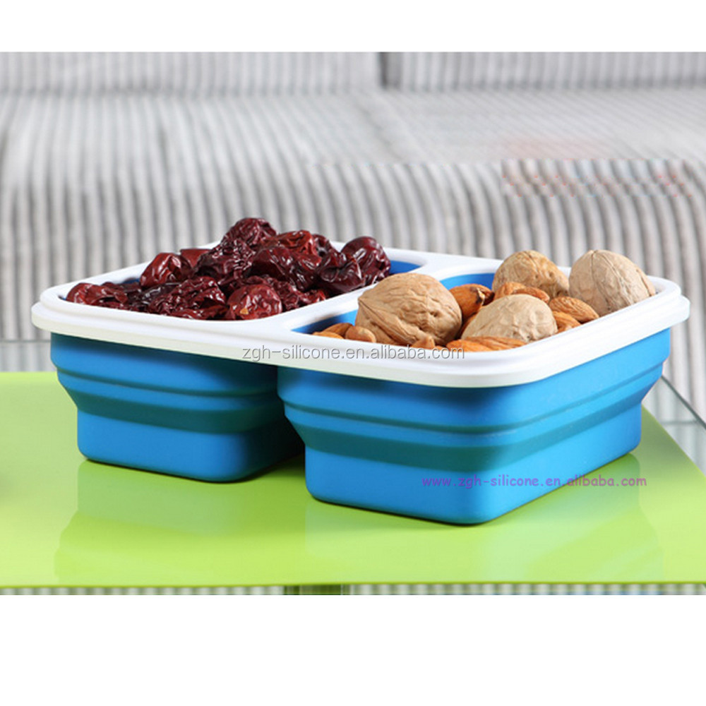 Best selling Food grade silicon colapsable lunch cube container set with silicone lid for collapsible silicone container