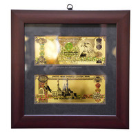 24k gold foil banknote with wooden frame of UNITED ARAB EMIRATES