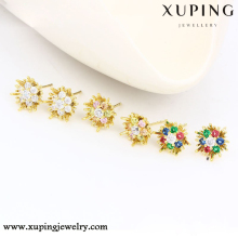 90265 xuping round shaped earrings, 14k gold color peacock design earrings, fancy stud earring