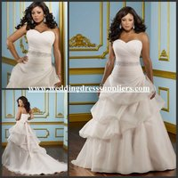 ML065 Hot Sweetheart Strapless Rouched Organza Crystal Pink Plus Size Wedding Dresses