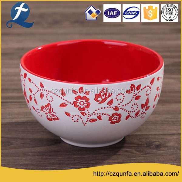 Fancy colored custom printing ceramic mixing salad rice bowls