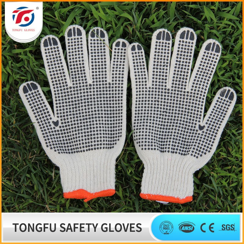 China wholesale PVC dotted cotton knitted working gloves