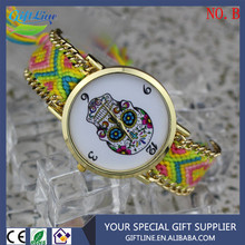 GIFTLINE Fashion Lady Friendship Weaving Watch New Design Geneva Vogue Skull Weaving Watches