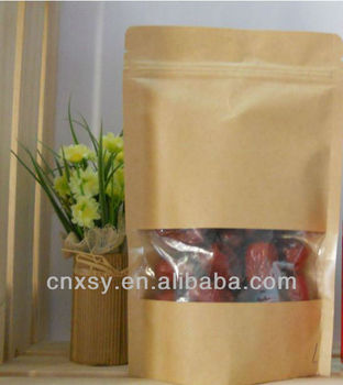 stand up pouch paper bag /doy pack zipper packing bag window