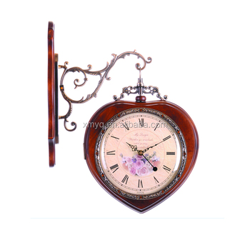 hanging double side wall clock with wood frame