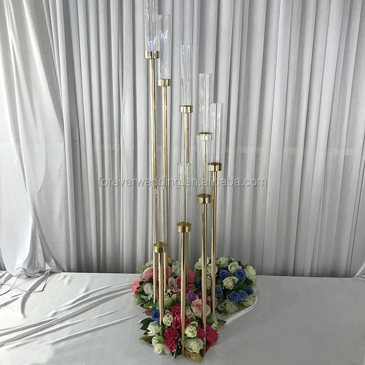 Latest wedding decoration metal candelabra 8 arms candle holder candlestick table centerpiece