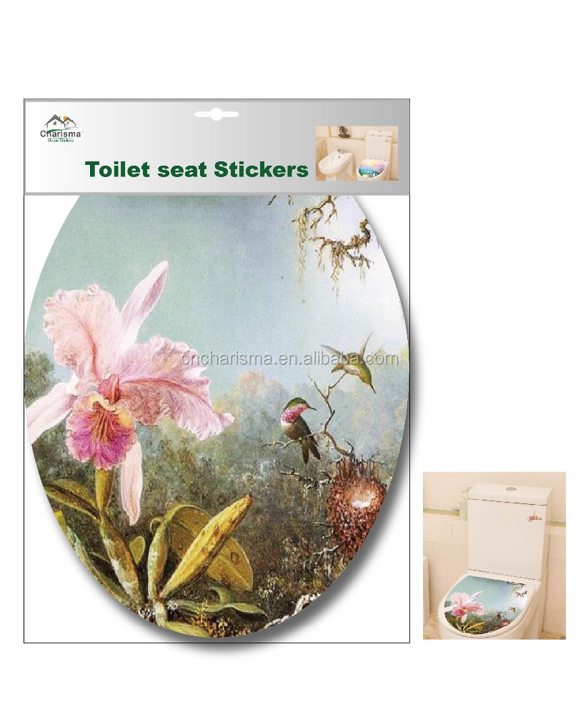 New flower design toilet seat cover stickers for bathroom decoration