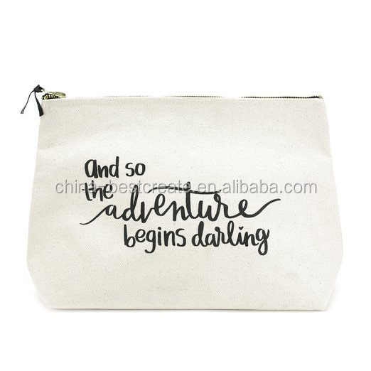 Custom white canvas cosmetic zipper bags for traveling with custom printing