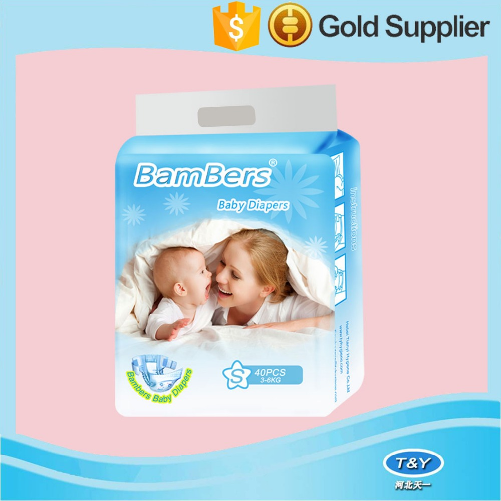 Magic tape high quality colored printed clothlike backsheet disposable baby diape with Blue ADL