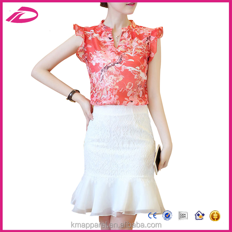 Summer Dress Set Print Chiffon Tops Fishtail Skirt