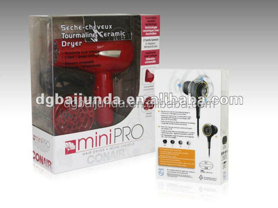 Clear rectangular plastic box for hair drier