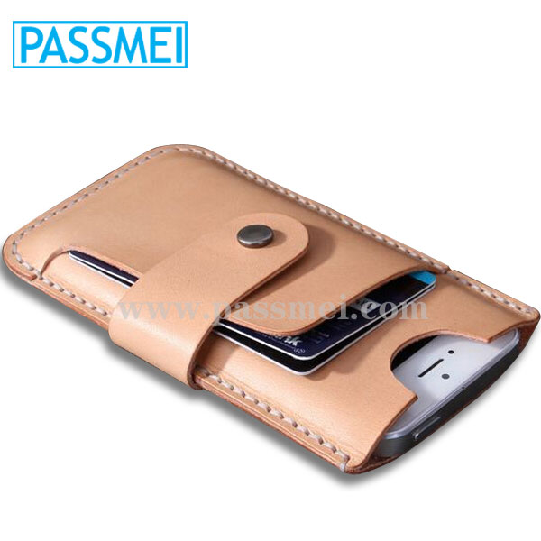 Universal eather smart phone wallet case for Iphone 6 credit card case