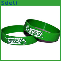 3/4 inch wide customized logo embossed with printing silicone wristband bracelet